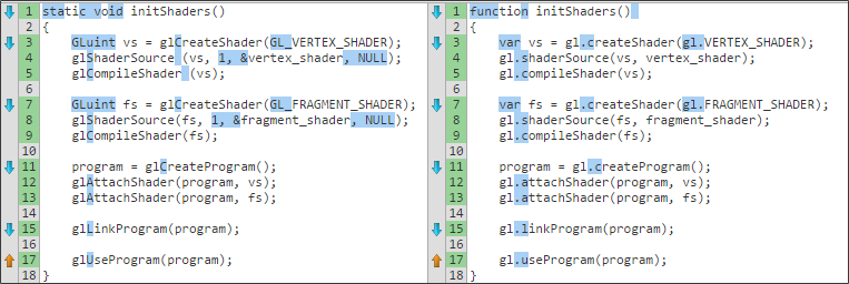 OpenGL and WebGL Initialize shaders code differences